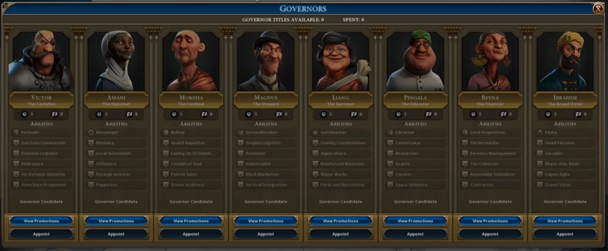 Civ 6's best governors